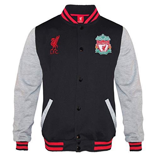 Liverpool FC - Jungen College-Jacke im Retro-Design - Offizielles Merchandise - Geschenk für Fußballfans - Schwarz - 8-9 Jahre