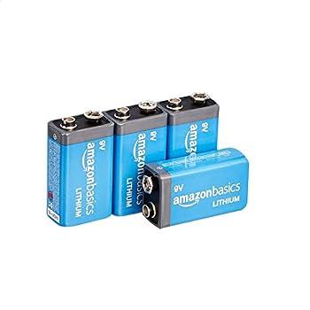 Amazon Basics 4-Pack 9 Volt High-Performance Lithium Batteries 10-Year Shelf Life Long Lasting Power