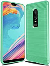 For Oneplus 6 Case Cover Brushed Carbon Fiber Texture Back screen Protector Case For Oneplus6 1+6 Soft TPU Business Skin casual green series-c140