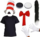 ADULTS CRAZY CAT FANCY DRESS COSTUME SET WITH FACEPAINT - BOOK WEEK COSTUME WITH STRIPED RED HAT, RED BOW TIE, GLOVES, BLACK SHIRT, CAT NOSE, THIN BLACK CAT TAIL (XX-Large)