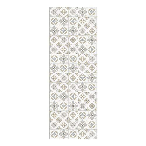 DON LETRA Alfombra Vinílica Baldosas, 140 x 50 cm, Color Beige, Vinilo PVC Estampado, Grosor 2.2 mm, ALV-087