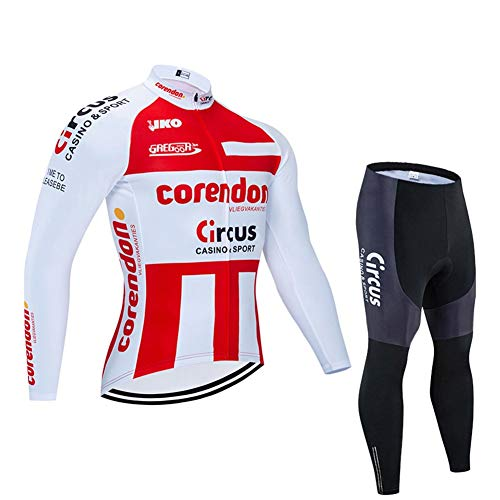 Men Long Sleeve Cycling Jerseys For PRO Racing Club Belgium Bicycle Fleet Red - Road Bike Anti-UV Outdoor MTB Cycling Suits, Classic Bicycle Sportswear (Size : Small)
