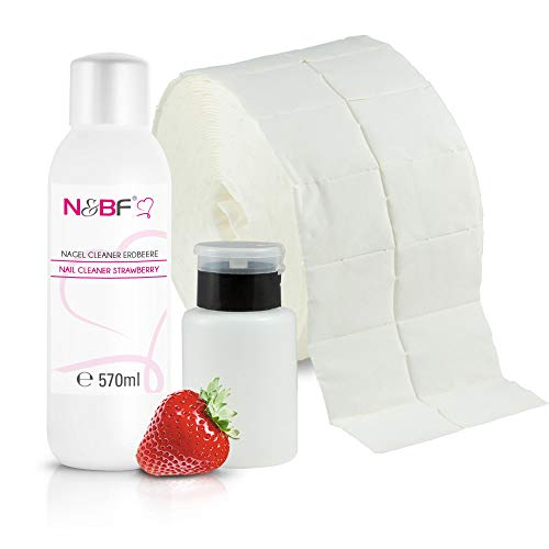 N&BF Nagel Cleaner Set mit Duft 570ml + Dispenser Pumpflasche Schwarz 150ml + 1000 Zelletten Cellulose Pads (2 Rollen à 500 Stück) - 70% Isopropanol-Alkohol – für Gelnägel – Nagelreiniger (Erdbeer)