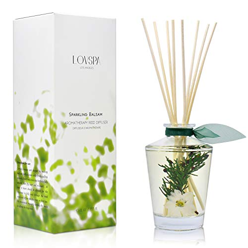 LOVSPA Sparkling Balsam Reed Diffuser Oil Set - Christmas Tree Scent with Pine, Fir Needles, Birch Wood and Amber - Natural Essential Oils and Real Botanicals - Beautiful Holiday Decor - 4.5 Ounces