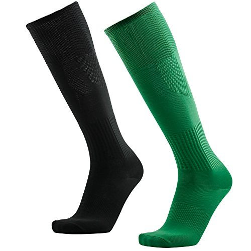 Long Black Rugby Socks, 3street Unisex Comfortable Ankle Support Soccer Softball Volleyball Tube Knee High Socks Back to School Gift Green Black 2 Pairs
