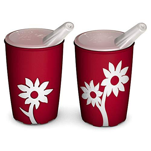 Ornamin Becher mit Anti-Rutsch Blume 220 ml rot/weiß und Schnabelaufsatz 2er-Set (Modell 820 + 806) / Schnabelbecher, Trinkbecher, Kinderbecher