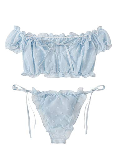 SheIn Women's Self Tie Ruffle Trim Dobby Mesh Lingerie Set Sexy Bra and Panty Large Blue