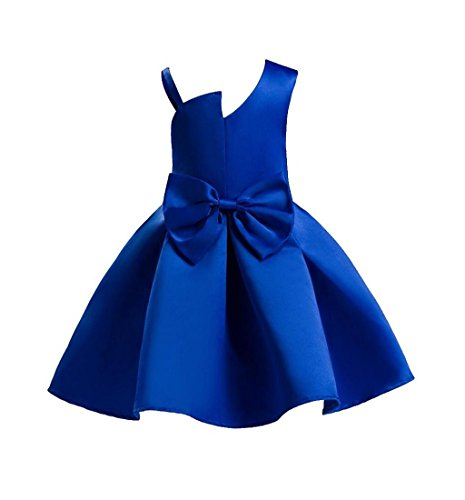 Amlaiworld Robe de Filles Filles Robe de Demoiselle d'honneur de Mariage de Fleur Enfants Robe de Concours Off-Shoulder Robe Princesse pour 2-8 Ans Fille (130/5-6Ans, Bleu)