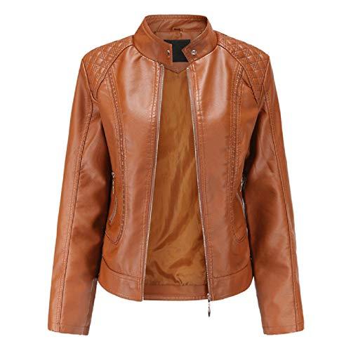 N\P Giacca in Pelle da Donna Primavera Autunno Colletto allaCoreana Cappotto da Motociclista Cappotto in PU Giacca Autunnale Nero Rosso