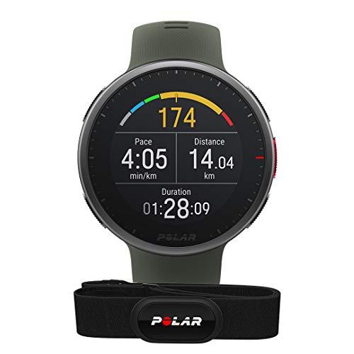 Polar Vantage V2 und H10 – Premium Multisportuhr GPS Smartwatch – Pulsmessung am Handgelenk für Laufen, Schwimmen, Radfahren – Musiksteuerung, Wettervorhersage, Smart Notifications, dunkelgrün, M-L