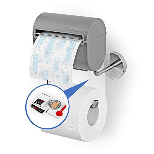 bideo® Toilettenpapierhalterung inkl. Befeuchter, Kleben statt Bohren - grau | Ohne Farb-, Duft- und Konservierungsstoffe | bideo Papierspender