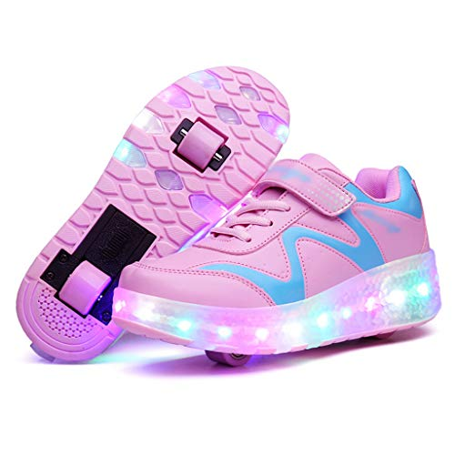 Double Wheel Kids Roller Skates with LED Light, Wheelies Shoes for Girls Boys