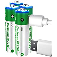 Delipow USB 1.5V Lithium AA Rechargeable Batteries