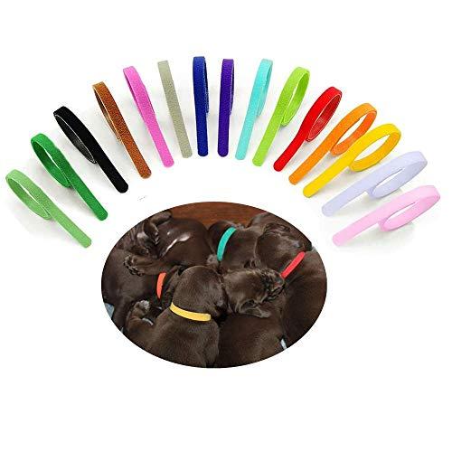 Collares de identificación para Cachorros 15 Piezas Ajustables Collar de Perro Collares de Parto de Colores Surtidos para identificación Mascotas