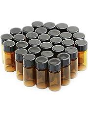30 botellas de vidrio de 5 ml con tapa de rosca de plástico negro vacíos frascos de muestra.