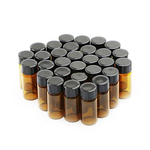 Fläschchen aus braunem Glas, leer, mit schwarzem Kunststoff-Schraubverschluss, 5 ml, 30 Stück; Muster-Flakons