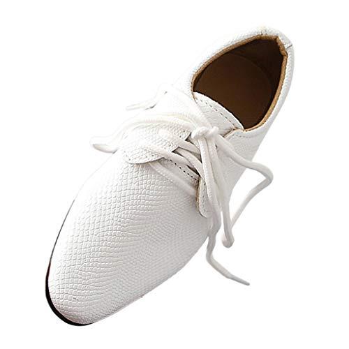 DAY8 Chaussures Garcon Cuir PU Automne Chaussures de Cérémonie Mariage Soirée Bal Enfant Garçon Hiver Chaussures de Ville à Lacets pour Garçon Pas Cher Derby Garçon Caoutchouc (Blanc, 26 EU)