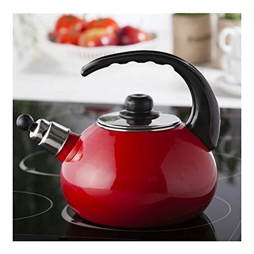 Hervidor de té con silbato para estufa, mango ergonómico resistente al calor y tetera esmaltada, para casa, restaurante, oficina, tetera de 2,5 l (color rojo, tamaño: 2,5 L)