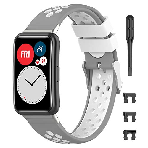 Keweni Correa de Repuesto Compatible con Huawei Fit Watch Band, Correa Deportiva de Silicona Suave Compatible con Huawei Fit Watch (gris blanco)