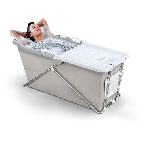 FlinQ Faltbare Mobile Badewanne für Erwachsene | Grau | Einfaches Klicksystem | Ideal für kleine Badezimmer | Badewanne faltbar erwachsene | Mobile Badewanne Erwachsene XL und Kinder