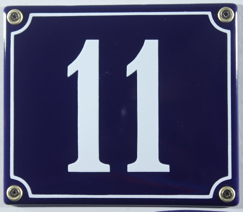 Emaille Hausnummernschild - Wählen Sie Ihre Nummer - Zahlen 1 bis 30 verfügbar - blau/weiß 12x12 cm und 12x14cm - sofort lieferbar! Hausnummer Schild wetterfest und lichtecht (11 blau/weiß 12x14cm)