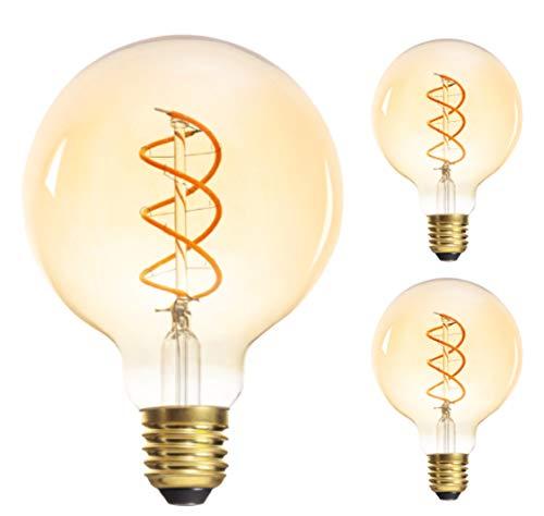 3X Set E27 Filament LED 5W 1800K warmweiß 290 Lumen G95 nicht dimmbar 230V Edison Antik Vintage Retro Glühbirne Globus