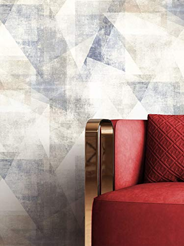 NEWROOM Tapete Blau Vliestapete Dreiecke - Mustertapete Grafisch Grau Weiß Muster Grafiktapete Industrial inkl. Tapezier-Ratgeber