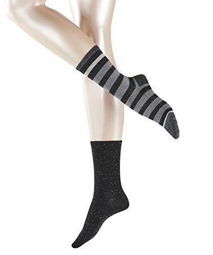 ESPRIT Damen Socken Block Stripe 2-Pack, Baumwollmischung, 2 Paar, Schwarz (Black 3000), Größe: 39-42