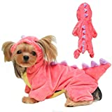 ANIAC Dog Plush Outfit with Hood Dinosaur Cosplay Cat Halloween Costume Pet Dino Hoodies Warm Dragon Coat Four-Leg Jumpsuit Cute Winter Clothes for Cats and Small Dog (Small, Pink)