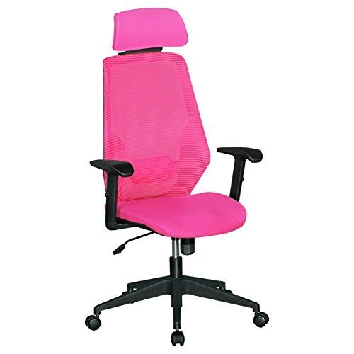 Amstyle NetStar, Bürostuhl mit gepolsteter Stoff-Sitzfläche, Schreibtischstuhl mit Rückenlehne, Drehstuhl ist höhenverstellbar, Drehsessel inkl. Wippmechanik, Jugendstuhl bis 120 kg pink