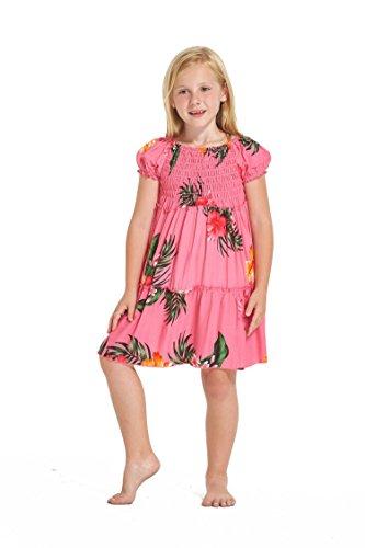 Girl Hawaiian Short Sleeve Elastic Top Dress in Pink Floral Size 6
