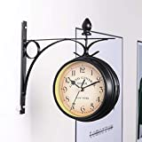 VINTAN Reloj de pared de doble cara, para interior y exterior, estilo vintage, aspecto antiguo, montaje en pared, color negro