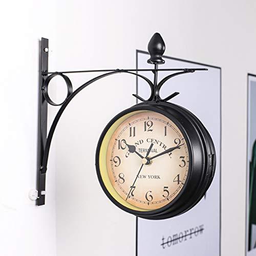 PopHMN Reloj de Pared, Reloj de Pared de Doble Cara de Hierro con Cubierta Impermeable Reloj Antiguo Vintage montado en la Pared para decoración Colgante de jardín Interior
