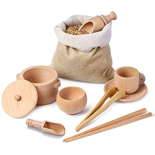 TODALE Sensory Bin Tools for Toddlers, Montessori Wooden Toys, Wooden Sensory Toys Dish Set Scoops and Tongs, Fine Motor Skills Development, Waldorf Toys for Sensory Table Activities