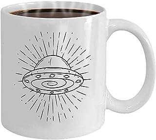 Tasse à café 11 oz blanc en céramique drôle cadeau dessiné à la main UFO rayons divergents utilisé affiche bannière Web im...