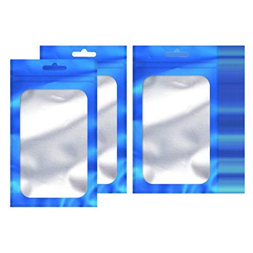 Fenteer 100 stück geruchs icher geruchloser Mylar Wieder versetzbarer Folien Beutel Beutel mit klarem Fenster | Lebensmittel sicher | luftdichtes - Blau L