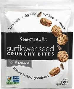 Somersaults Nut Free 100% Natural Sunflower Seed Snacks Salt and Pepper Nuggets - Pack of 3 6 Oz Ea.