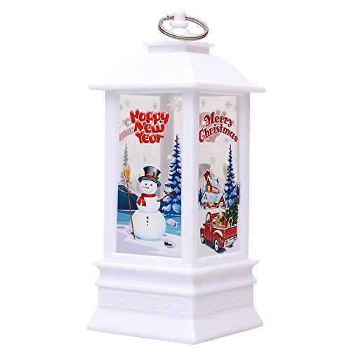 Weihnachts-Außenlichter-Sale, Weihnachtslaterne LED-Leuchten Flammenlose LED-Teelichter Kerze Weiß Schneemann Nachtlicht Hängende Ornamente für Weihnachtsdekoration