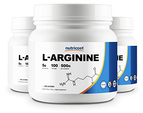 Nutricost L-Arginine (500G) (3 Bottles) - Pure L-Arginine Powder (500G Each) - 5G Per Serving …