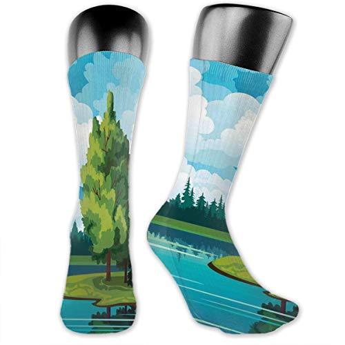 Preisvergleich Produktbild vnsukdlfg Compression Medium Calf Socks, Peaceful Environment Summer Forest Lake And Cumulus Clouds On Blue Sky