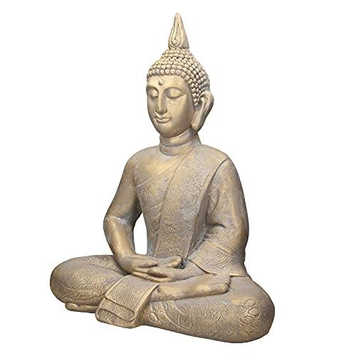 ECD Germany Estatua de Buda Sentado Figura de Piedra Artificial Poliresina 63 cm Bronce Escultura Estilo Asiatico Figurilla Decorativa Feng Shui de Adorno para el Hogar y Jardín Interior Exterior