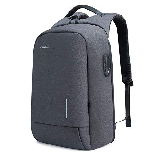 Winking Pro Pack-17.3' Lightweight Travel Laptop Backpack, Business Travel Computer Bag Slim Laptop Rucksack with USB Charging Port TSA Lock Anti Theft Bag Water Resistant for 17-Inch Laptop Bag