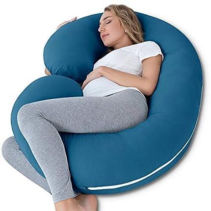 NiDream Almohada de Embarazo con Funda de Jersey, Almohada de Cuerpo Completo en Forma de C para Mujeres Embarazadas (Cotone BLU)