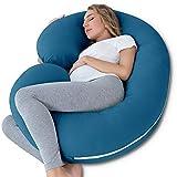 NiDream C-förmiges Schwangerschaftskissen & Lagerungskissen mit Jerseybezug (Jersey, Blau)