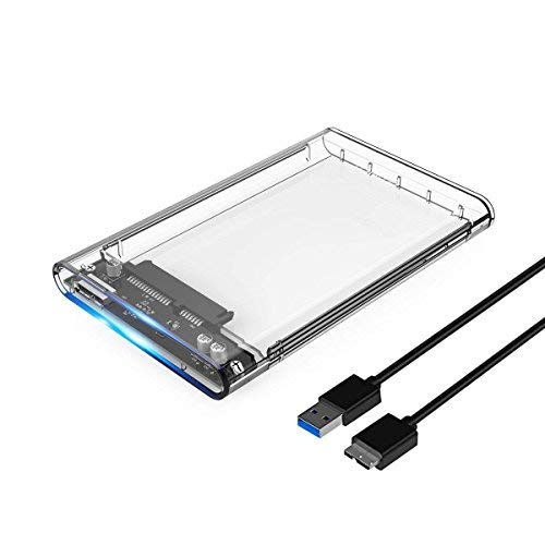FEILUX 2.5 USB 3 External Hard Drive Enclosure Casing for 2.5 inch 7mm/9.5mm SATA HDD SSD Support UASP SATA III Max 2T Tool-Free Design - Clear (Clear,USB 3.0)