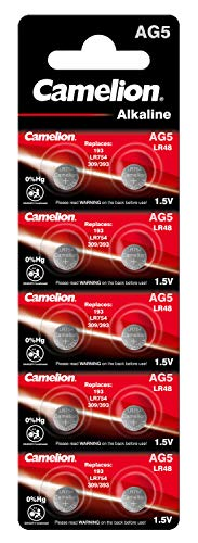 Camelion 12051005 Alkaline Knopfzellen ohne Quecksilber AG5/LR48/LR754/393/1,5 Volt, 10er-Pack