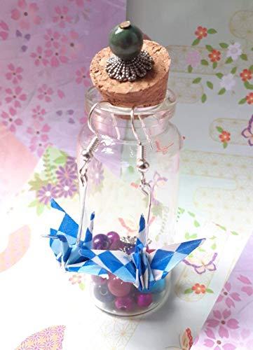 Crane earrings,Pendientes Grullas,Origami Earrings,Japanese earrings,Blue Earring