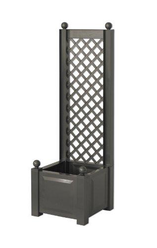 KHW 11250 Pflanzkasten mit Rank- und Sichtschutzspalier, 140 cm hoch, 43 cm breit, 43 cm tief, anthrazit