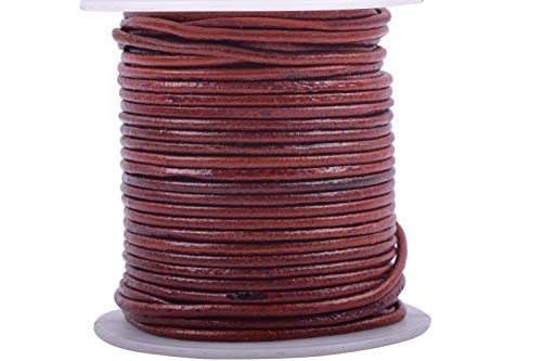 KONMAY 1 Roll 25 Yards 1.5mm Distressed Brown Soft Round Real Jewelry Leather Cord