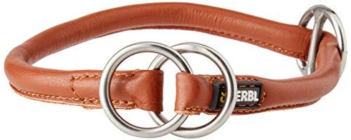 Kerbl 81096 Rundleder-Halsband Roma mit Stopper, Braun (cognac), 50 cm, 8 mm